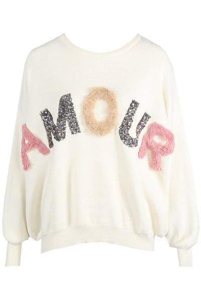 Cream Amour Trim Knitted Jumper - Angelina