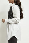 White Pu Black Faux Leather Shirt - Jane