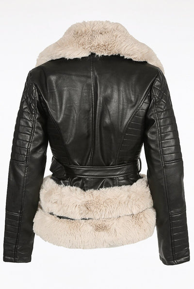 Black Apricot Faux Fur Trim Biker Jacket - Barbara