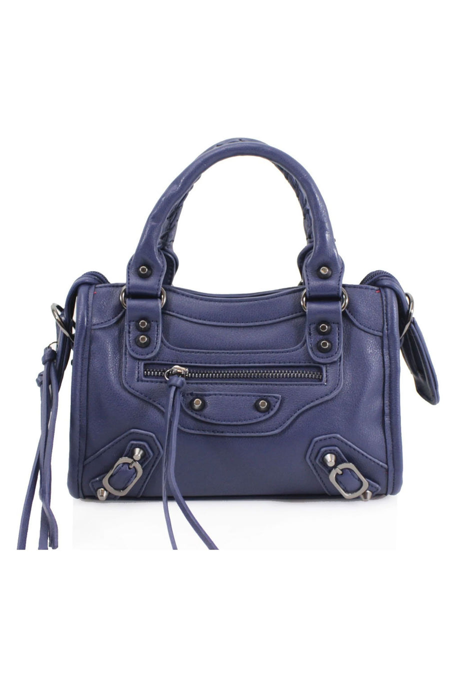 Navy Buckle Zip Detail Mini Bag - Phoebe
