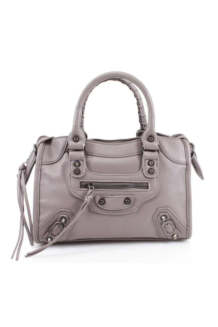 Taupe Buckle Zip Detail Mini Bag - Phoebe