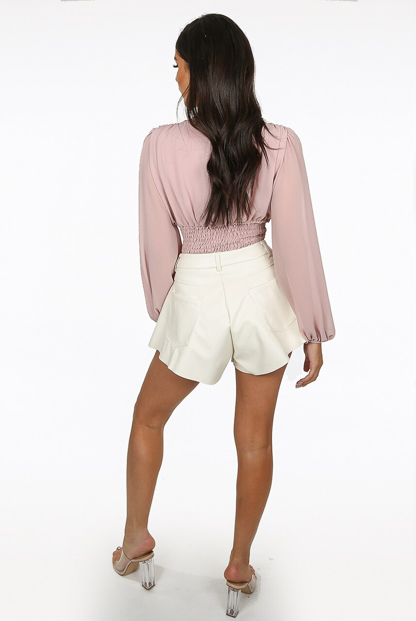 Cream Pu Wide Hem Shorts - Scarlett
