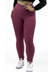 Dark Pink Ruched Textured Active leggings - Daniella