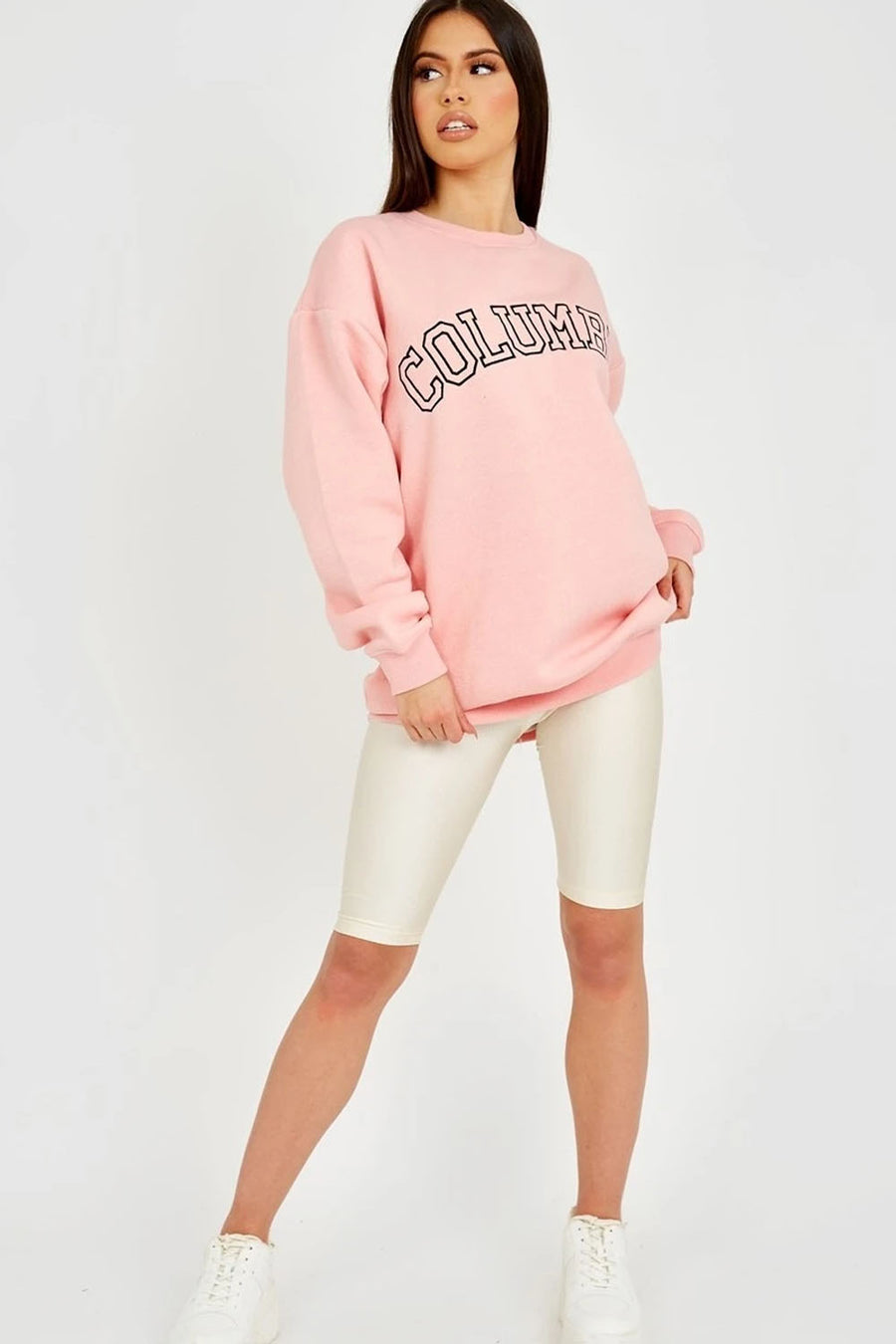 Pink COLUMBIA Embroidery Sweatshirt Jumper - Sarah