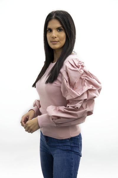 Pink Oversize Puff Sleeve Ribbed Top - Courtney