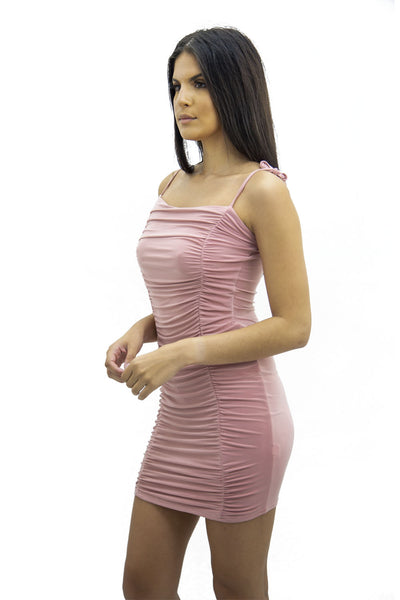 Pink Tie Strap Rouched Mini Dress - Breeze