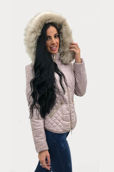 Dusky Pink Shiny Faux Fur Hooded Quilt Puffer Jacket - Juliana