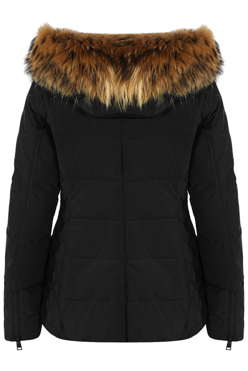 Black Lux Fur Hood Puffer Zip Jacket - Helen