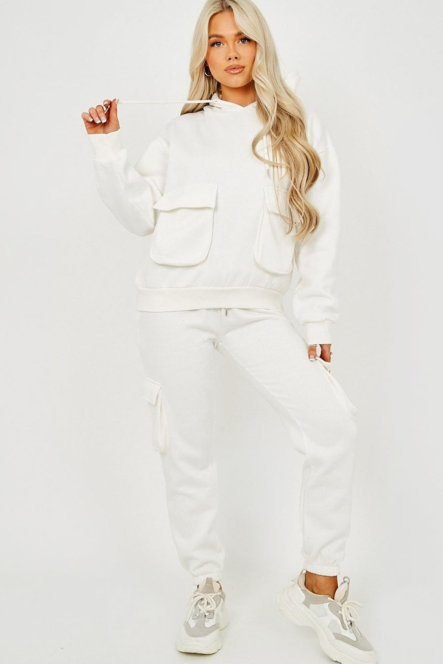 Off White Utility Pocket Hooded Top & Trouser Co-ord - Nikki