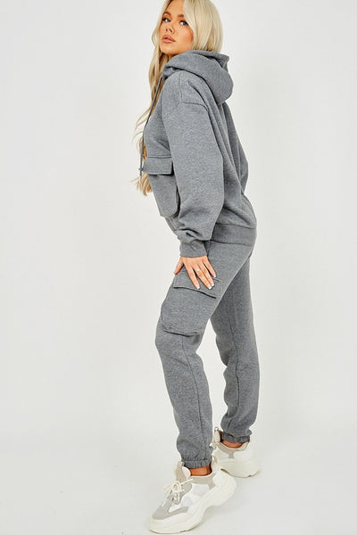 Grey Utility Pocket Hooded Top & Trouser Co-ord - Nikki