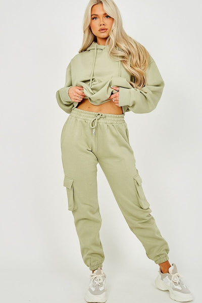Olive Green Utility Pocket Hooded Top & Trouser Co-ord - Nikki