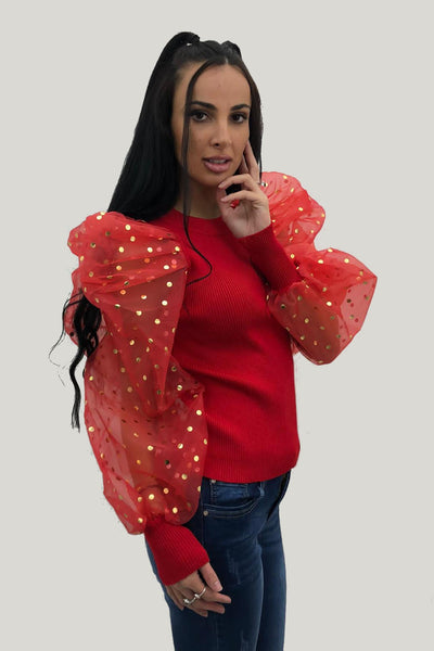 Red Foil Polka Dot Organza Sleeve Jumper - Amala