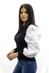 Black Oversize White Puff Sleeve Ribbed Top - Courtney