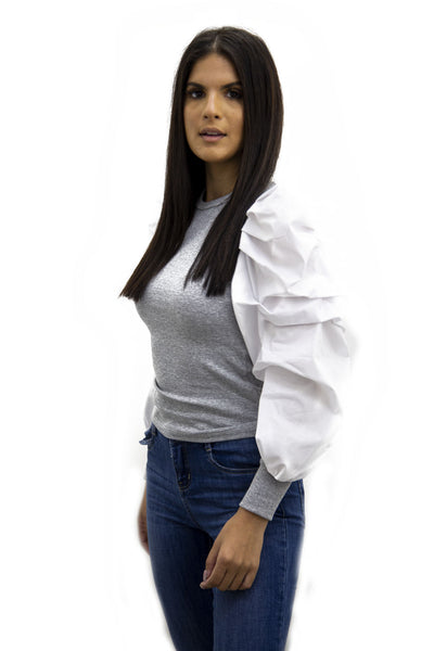 Grey Oversize White Puff Sleeve Ribbed Top - Courtney