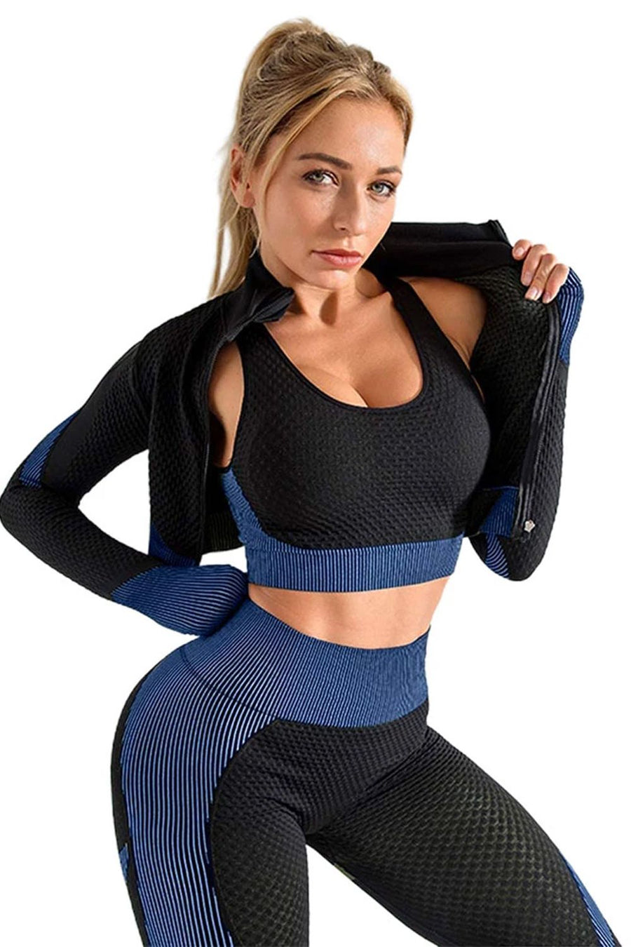 Black Royal Textured Active Jacket Top & Pants Set