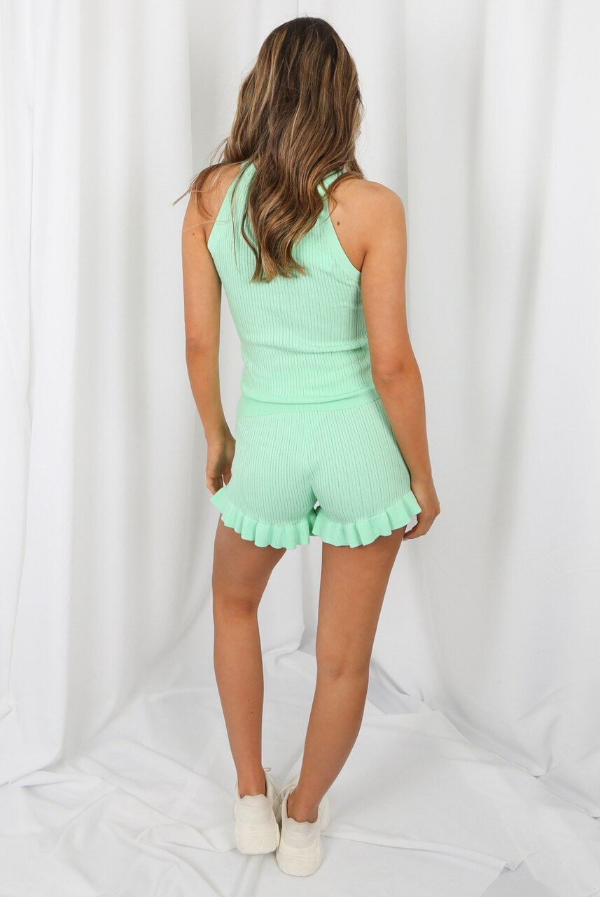 Mint Ribbed Gold Button Top & Shorts Co-ord - Adelyn