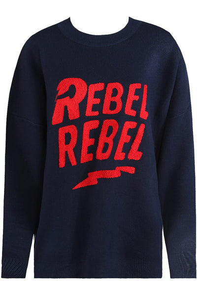 Navy Blue Rebel Rebel Baggy Knitted Jumper - Oakley