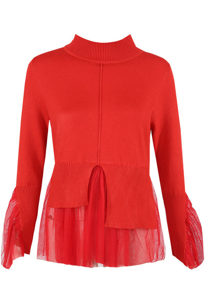 Red Knitted Peplum Mesh Jumper - Jordan