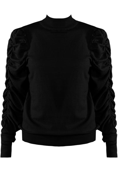 Black Ruched Sleeve Knitted Jumper - Makenna