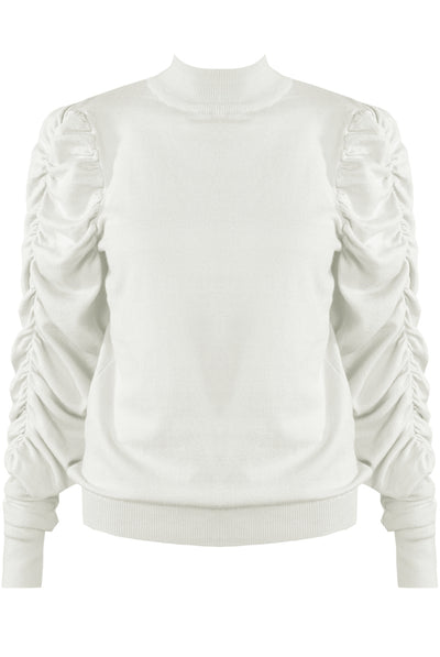 Cream Ruched Sleeve Knitted Jumper - Makenna
