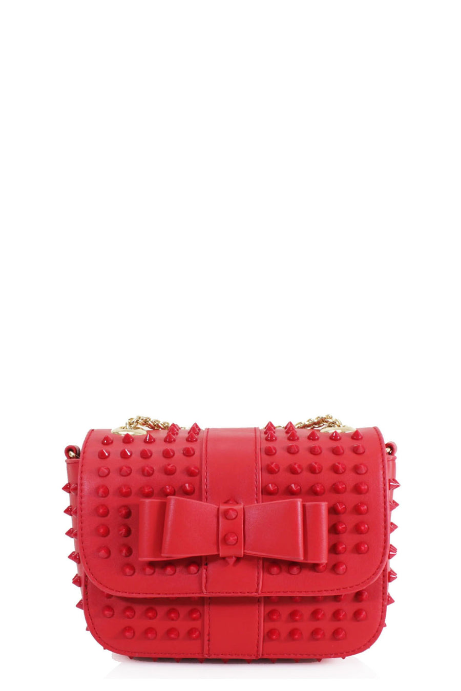 Red Studded Bow Bag - Angel