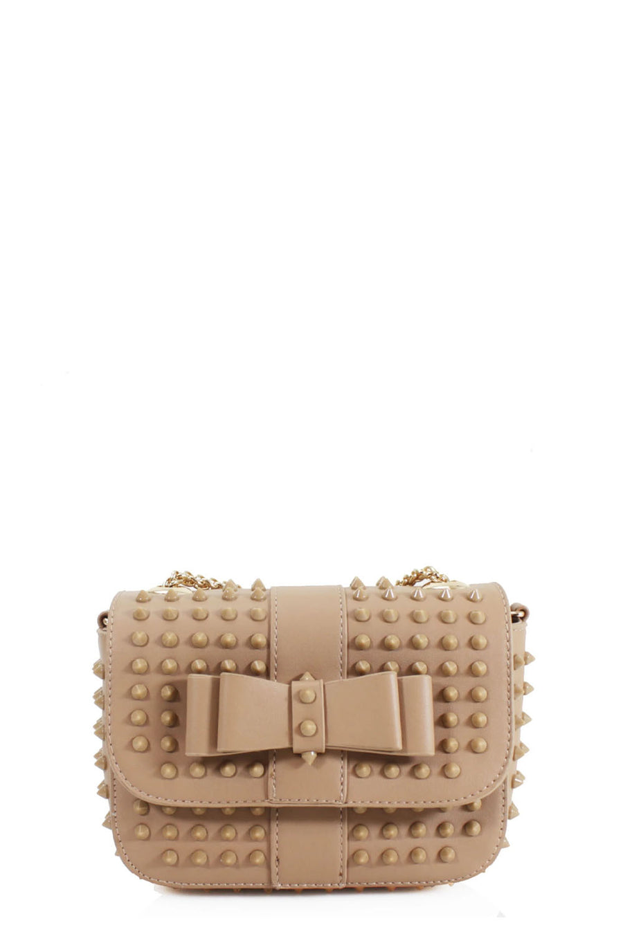 Beige Studded Bow Bag - Angel