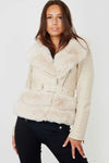 Apricot Faux Fur Trim Biker Jacket - Barbara