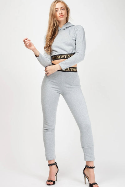 Grey Aztec Band Two Piece Lounge Wear - Sierra