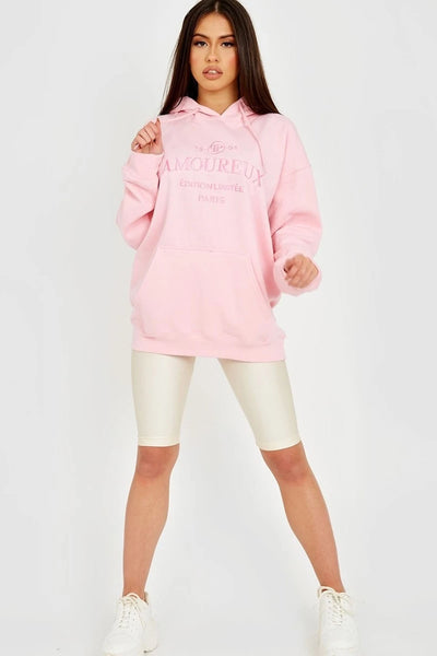 Pink Amoureux Embroidery Fleece Hoodie - Jeno