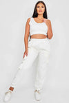 Off White Crop Top & Joggers Set - Erin