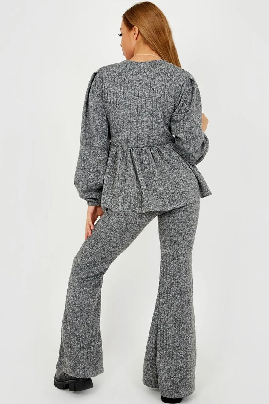 Grey Knitted Frill Hem Top & Bell Bottom Pants Co-ord - Daphne