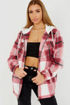 Pink Fleece Check Hooded Zip Shacket - Jolene