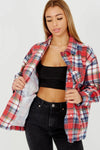 Red Classic Fleece Check Shirt Jacket - Naomi