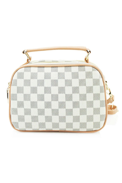 White Box Patterned Cross body Bag - Raelyn