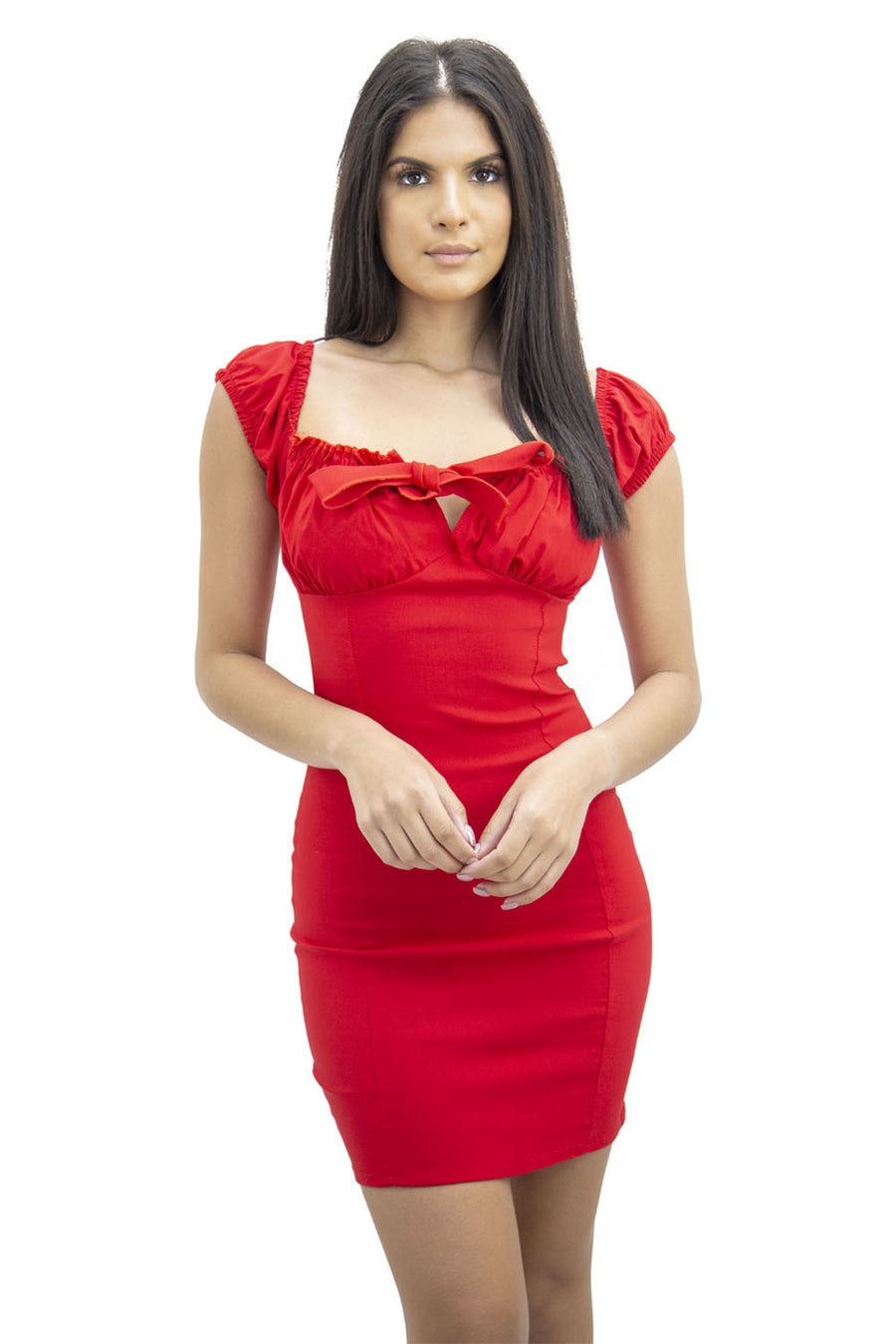 Red Front Cup Bow Mini Dress - Brandie