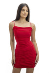 Red Tie Strap Rouched Mini Dress - Breeze