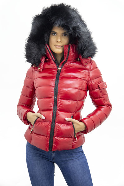 Red Shiny Black Faux Fur Hood Quilted Puffer Jacket - Jade