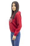 Red Sequin Lips Hooded Sweatshirt - Yara