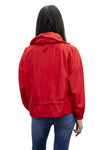 Red High Neck Hooded Festival Jacket - Parker