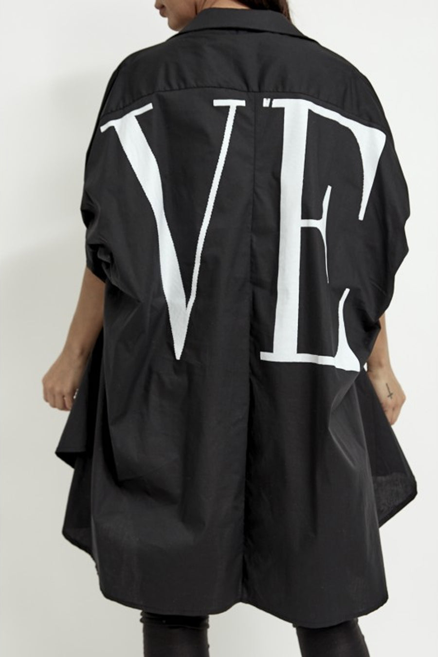 Black Love Print Oversize Baggy Shirt - Genevieve