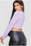 Lilac Drawstring Ruched Ribbed Crop Top -  Emily