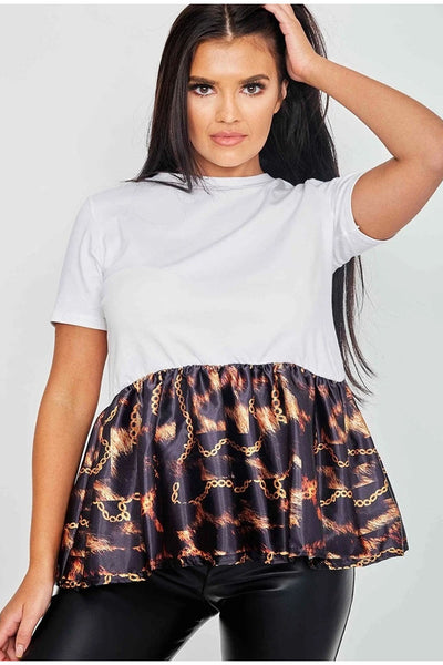 White Fire Chain Print Frill Hem Top -  Baylee