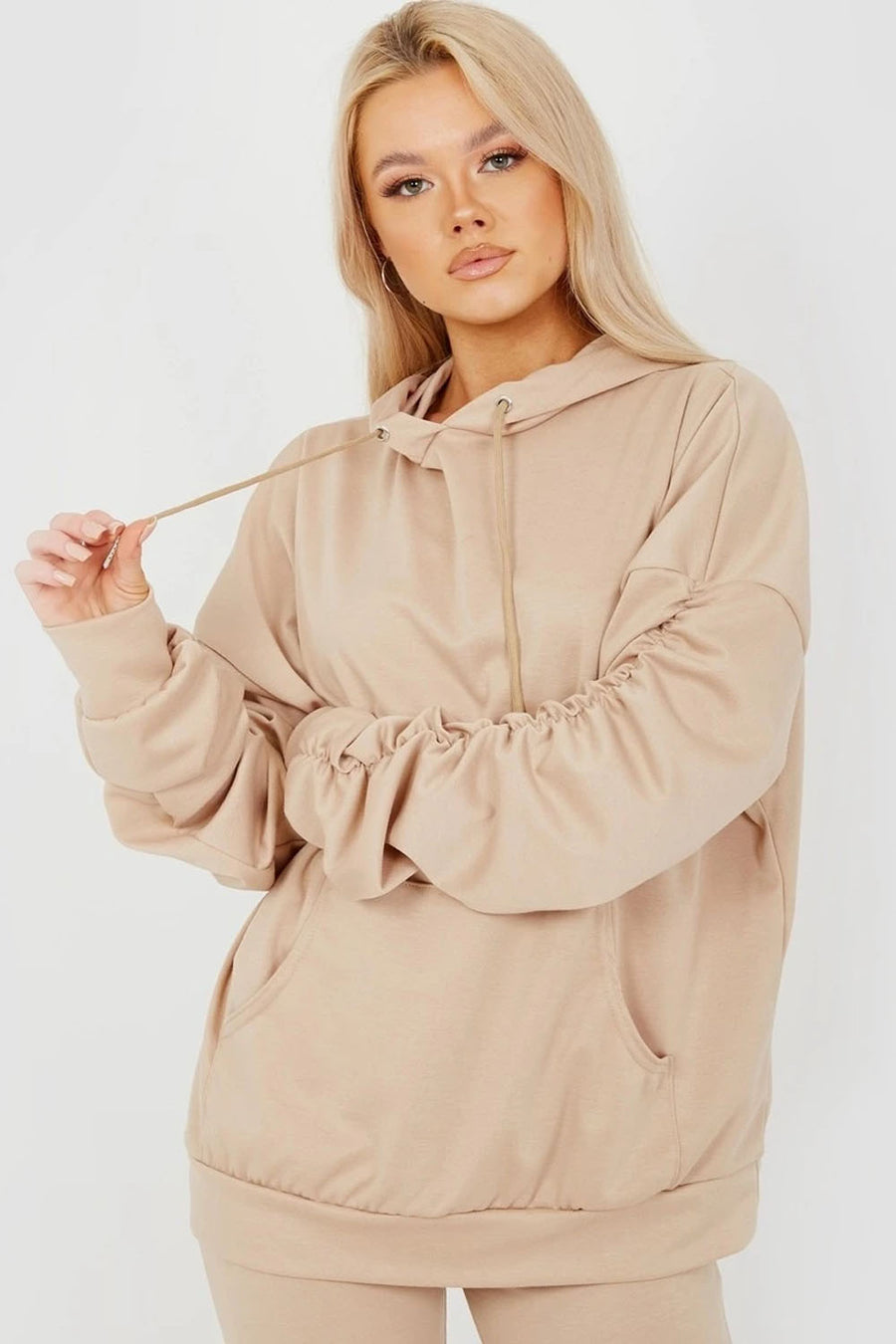 Stone Ruched Sleeve Hoodie & Flared Trouser Co-ord - London