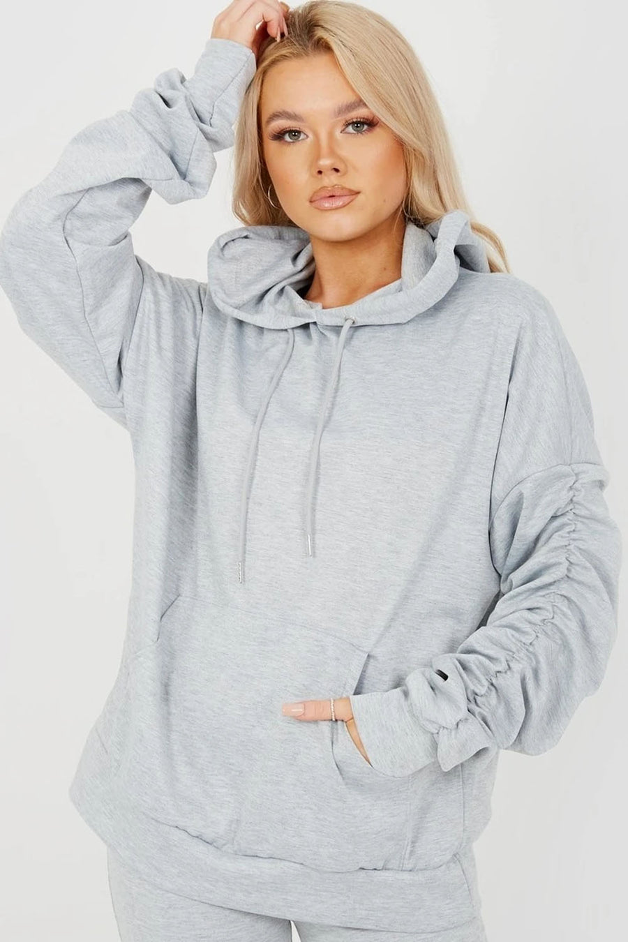 Grey Ruched Sleeve Hoodie & Flared Trouser Co-ord - London