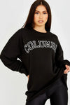 Black COLUMBIA Embroidery Sweatshirt Jumper - Sarah