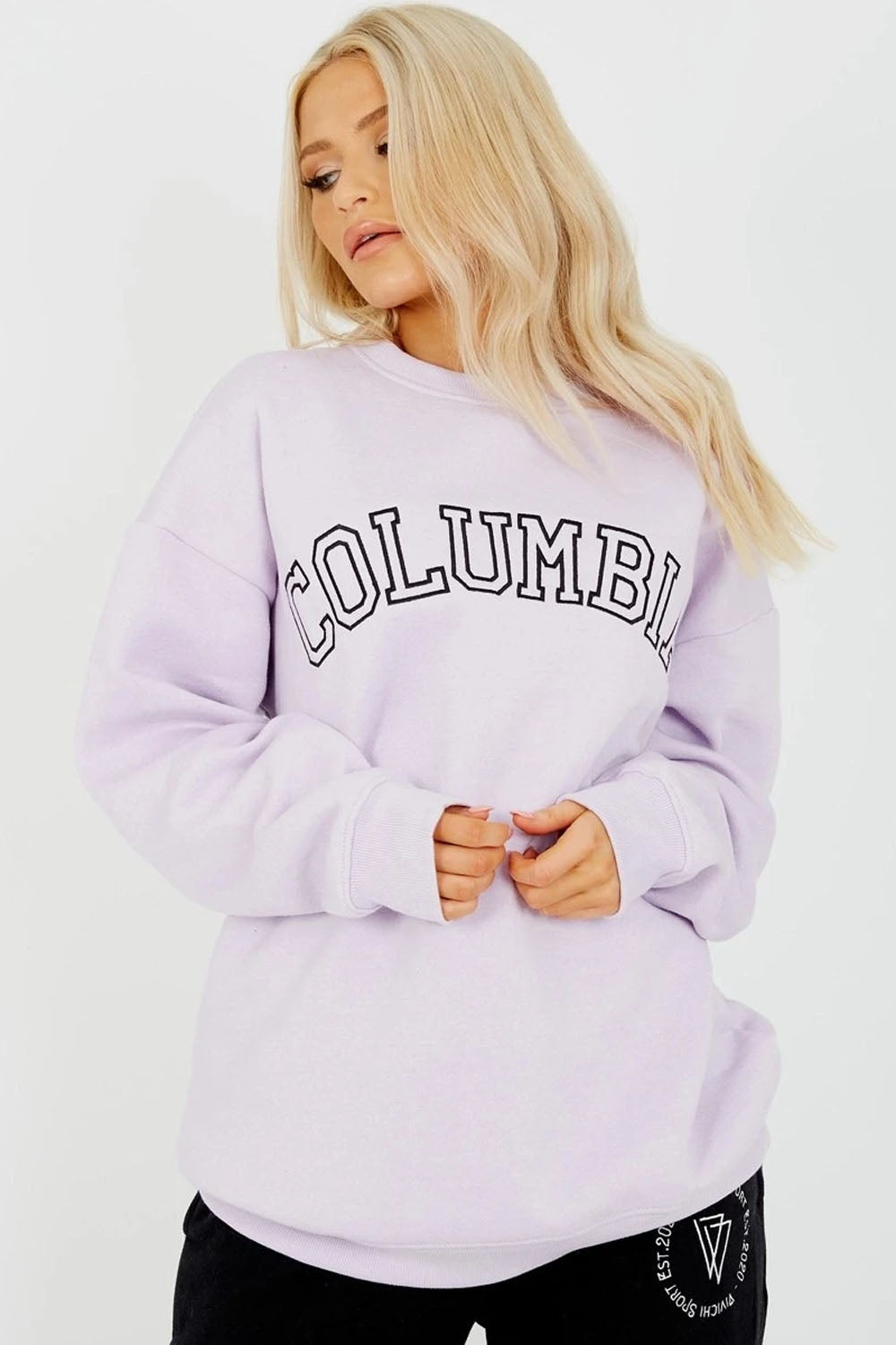 Lilac COLUMBIA Embroidery Sweatshirt Jumper - Sarah