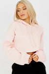 Pink Raw Hem Crop Fleece Hoodie - Lena