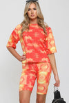 Orange Ribbed Tie Dye Top & Shorts Set - Annie