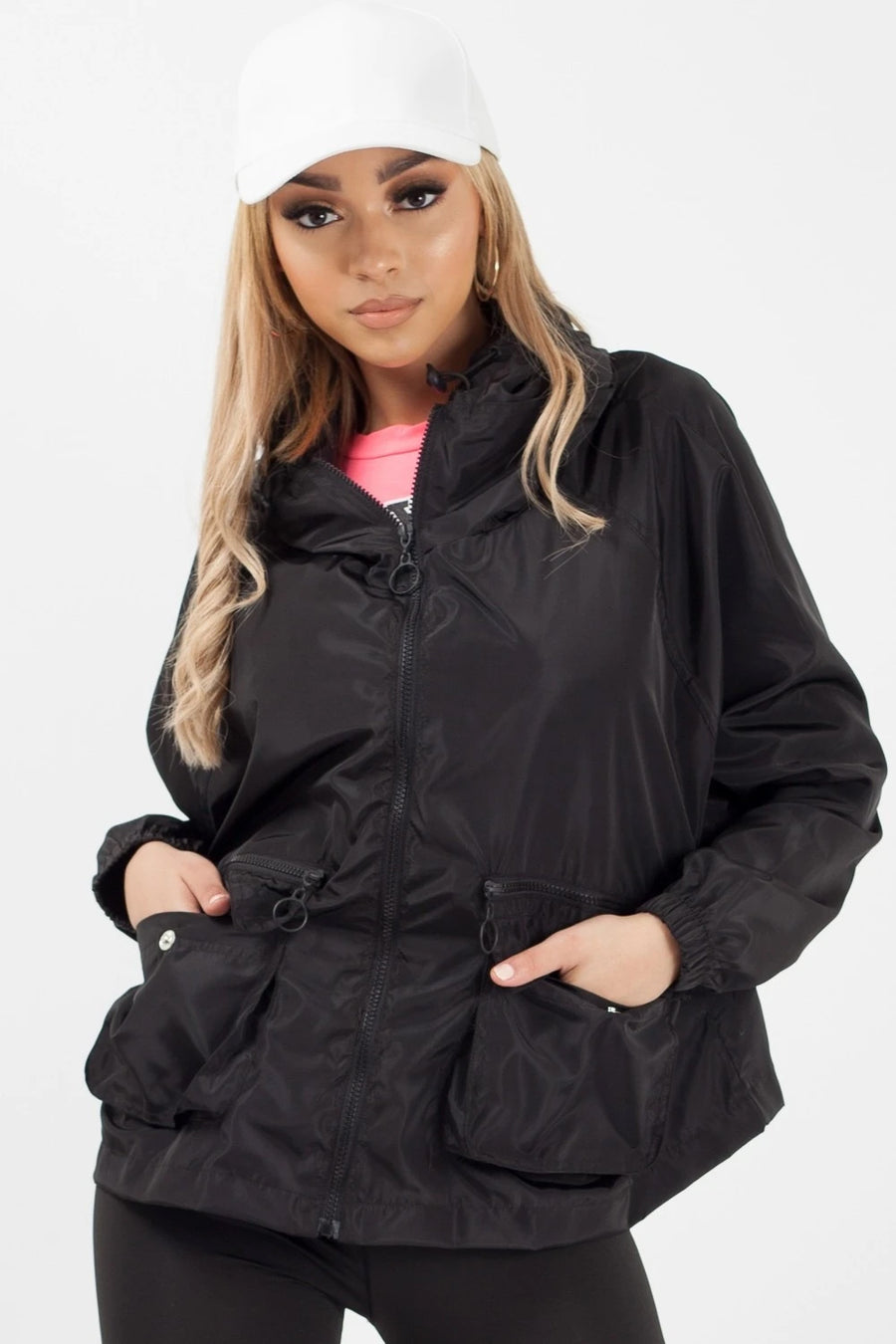 Black Hooded Rain Parka Festival Jacket - Maggie