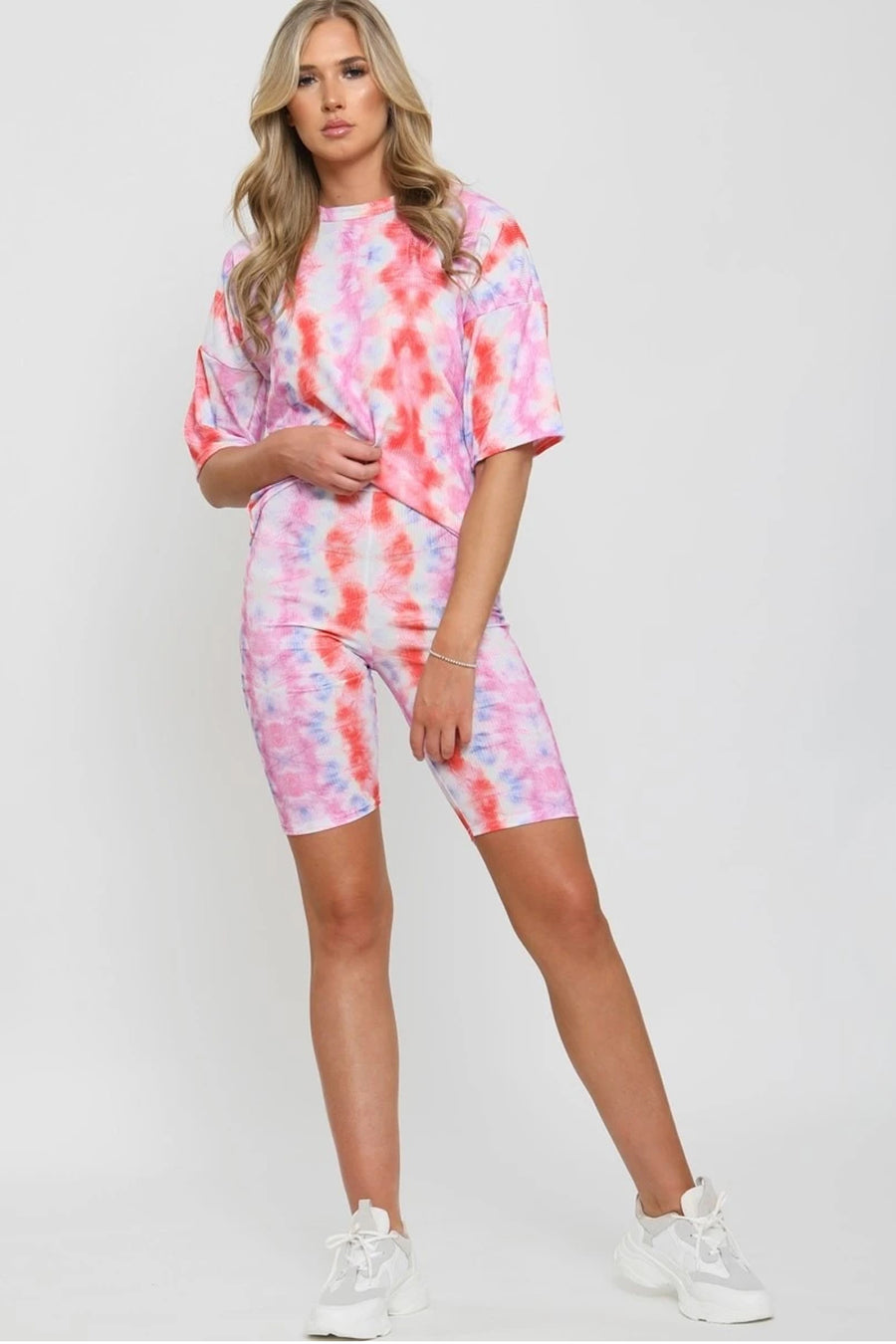 Pink Ribbed Tie Dye Top & Shorts Set - Annie